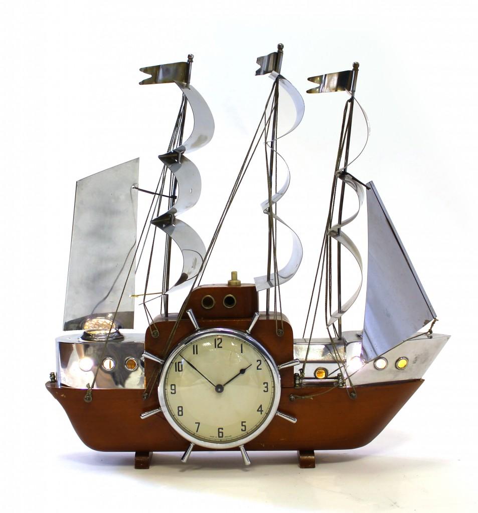 1950s Tall Ship Electric Clock Carlton Clocks