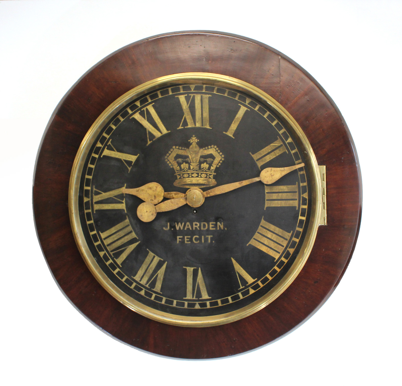 Very Large Antique Wall Clock By J Warden Carlton Clocks